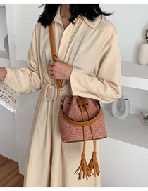 Fashion Brown Woolen Belt Tassel Crossbody Shoulder Bag