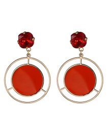 Fashion Red Geometric Round Earrings