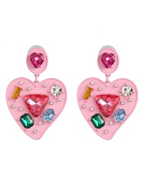 Fashion Pink Geometric Heart Earrings