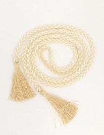Fashion Miga White Bow Woven Fringe Belt