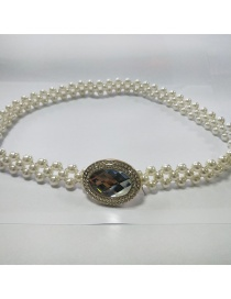 Fashion White Pearl Bow Elastic Waist Chain