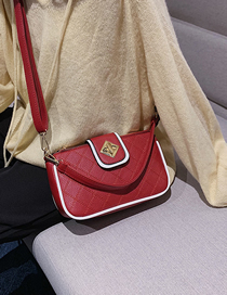 Fashion Red Lingge Embroidery Thread Shoulder Bag