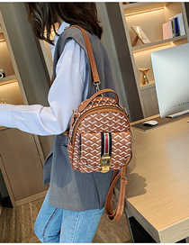 Fashion Brown Color Ribbon Stitching Print Backpack