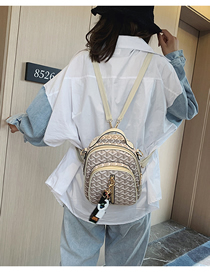 Fashion Beige Pu Printed Backpack