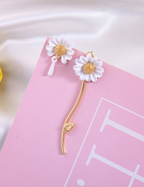 Fashion Flower Drop Oil 925 Sterling Silver Asymmetric Flower Earrings