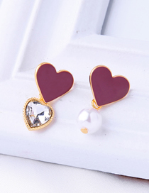 Fashion Purple Drop Glaze Love Pearl Earrings