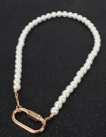 Fashion Gold Locked Love Imitation Pearl Necklace