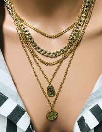 Fashion Gold Multi-layer Round Necklace