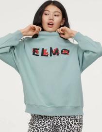 Fashion Green Printed Plus Velvet Sweater