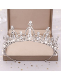 Fashion Silver Zircon Crown Headband