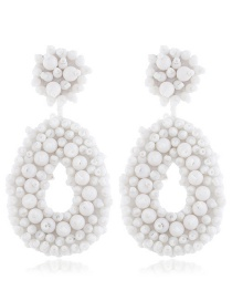 Fashion White Circle Flower Rice Beads Earrings
