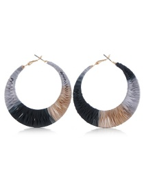 Fashion Color Fabric Woven Geometric Earrings
