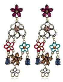 Fashion Color Irregular Diamond-studded Openwork Flower Earrings
