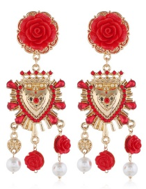 Fashion Red Alloy Resin Flower Diamond Earrings