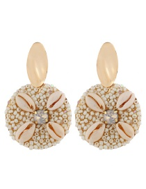 Fashion White Alloy Shell And Diamond Earrings