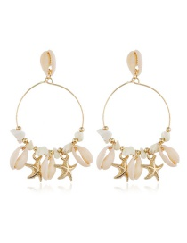 Fashion White Alloy Starfish Shell Earrings