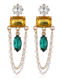 Fashion Color Alloy Diamond Emerald Earrings