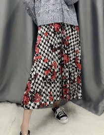 Fashion Color Pleated Flower Print Skirt