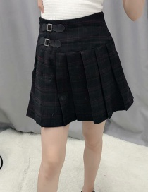 Fashion Black Plaid Pleated High Waist Skirt