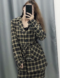 Fashion Plaid Mid-length Belt Stitching Suit
