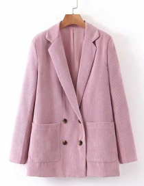 Fashion Pink Double-breasted Double-pocket Small Suit