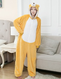 Three-dimensional Bear Flannel Cartoon One-piece Pajamas