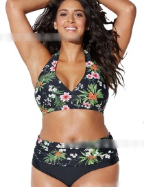 Green Printed Tether High Waist Split Swimsuit