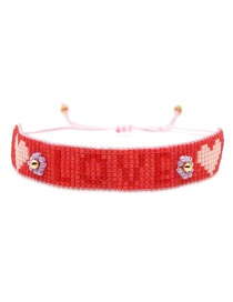 Red Rice Beads Woven Letters Love Bracelet