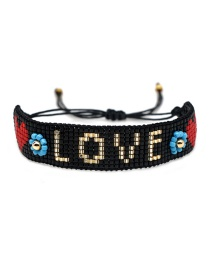 Black Rice Beads Woven Letters Love Bracelet