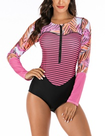 Fashion Pink Siamese Short-sleeved Surf Suit