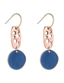 Fashion Blue C-shaped Hollow Round Paint Earrings