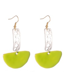 Fashion Green Hollow Strip Paint Fan Earrings