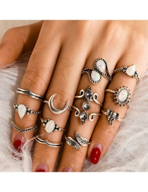 Fashion Silver Big Drops Elephant Leaf Moon Alloy Ring 12 Piece Set