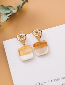 Fashion Light Brown 925 Silver Stud Metal Knotted Square Earrings