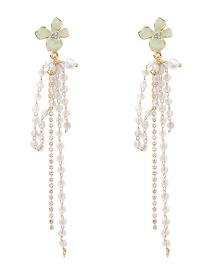 Fashion Gold 925 Silver Needle Flower Crystal Rhinestone Tassel Earrings