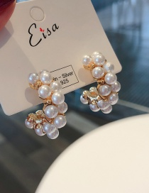 Fashion Gold 925 Silver Needle Pearl C-shaped Earrings