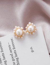 Fashion Gold 925 Silver Needle Woven Round Size Pearl Earrings