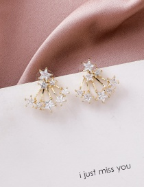 Fashion Gold 925 Silver Needle Size Star Earrings