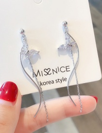 Fashion Silver 925 Silver Needle Zircon Butterfly Wavy Line Tassel Earrings