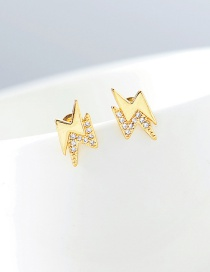 Fashion Gold S925 Silver Pin Lightning Zircon Micro-inlay Earrings