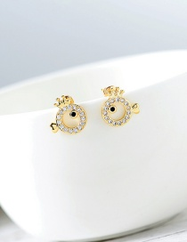 Fashion Gold S925 Silver Needle Small Fish Zircon Earrings