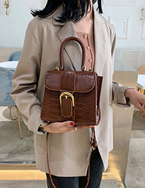 Fashion Brown Sewing Crocodile Shoulder Shoulder Messenger Handbag