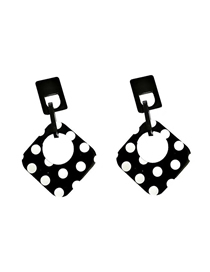 Fashion Black Acrylic Diamond Earrings