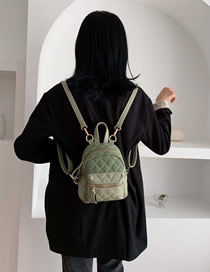 Fashion Matcha Green Lingge Embroidery Line Backpack