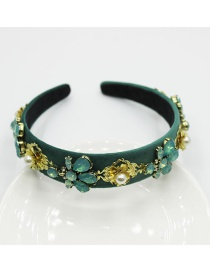 Fashion Green Jeweled Flower Pearl Headband