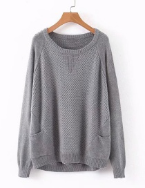 Fashion Gray Diamond Loose Sweater
