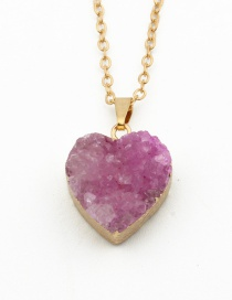 Fashion Rose Red Natural Stone Rose Red Heart Necklace