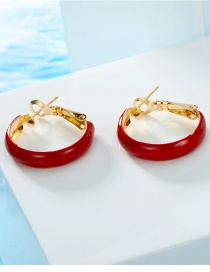 Fashion Red Round Hoop Earrings