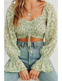 Fashion Green Printed Tether Short Top