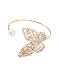Fashion Gold Alloy Diamond Pearl Butterfly Bracelet